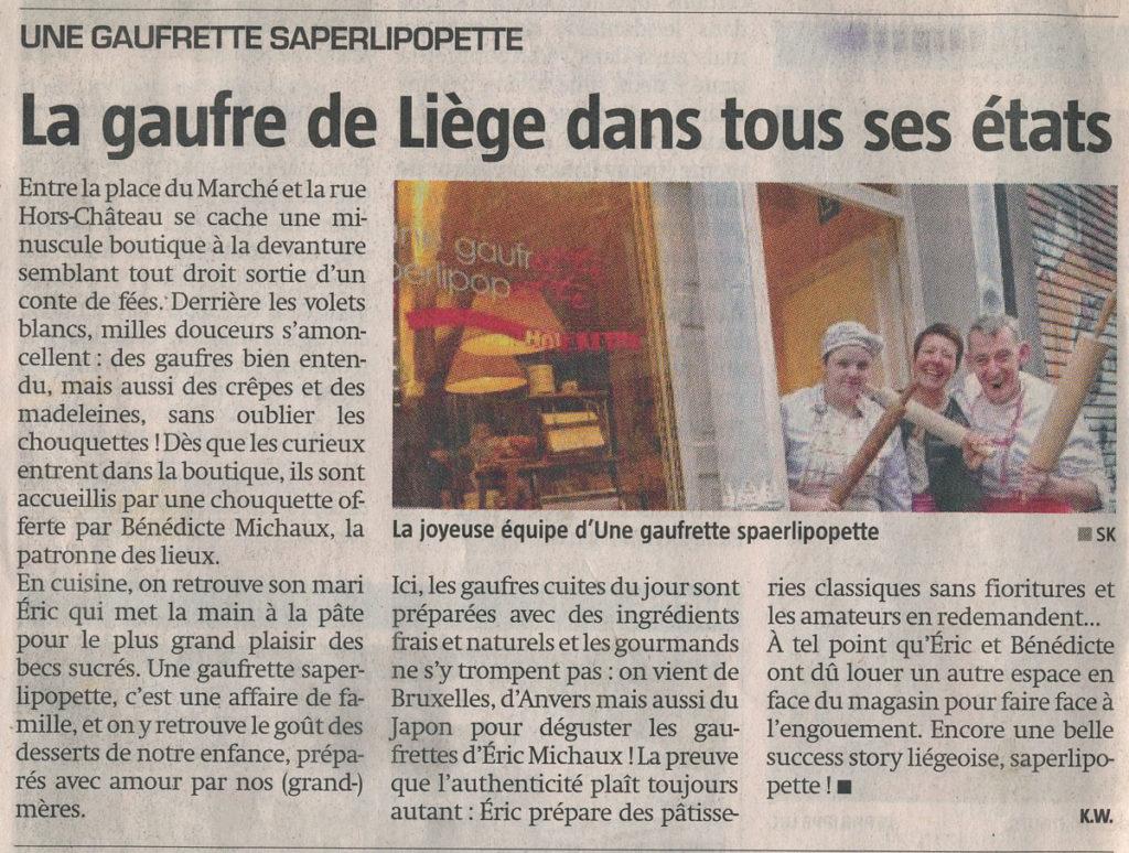 Coupure de Presse SudPresse Mai 2015