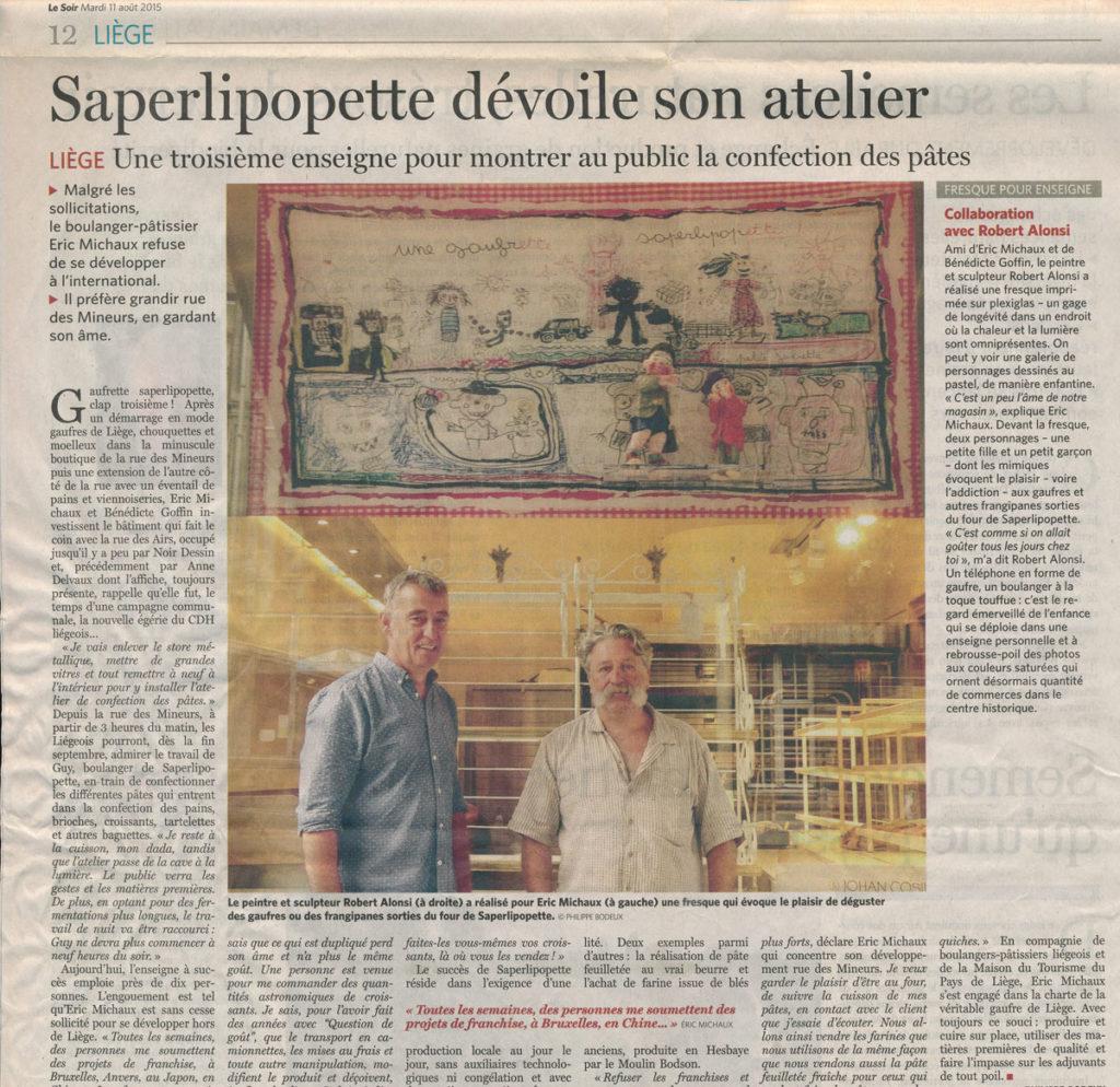 Coupure de Presse Le_Soir Aout 2015